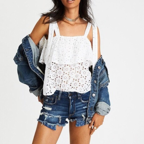 American Eagle Outfitters Tops - AE White Flowy Eyelet Tie Top - American Eagle - M